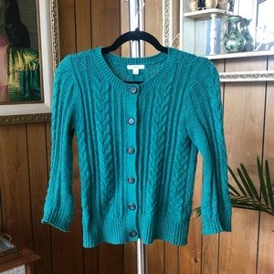 Soft Green Caslon Cable Knit Cardigan